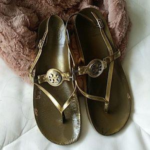 Tory Burch Low Platform Thong Sandals Gold 8